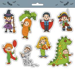 Vector set of Halloween children characters