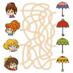 Maze game. Little girls and umbrellas