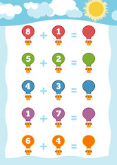 Counting Game for Children. Addition worksheets with balloons