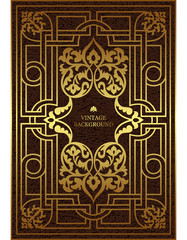 Vector luxury vintage border in the baroque style with gold floral pattern frame. The template for the book covers, old royal pages, invitations, greeting cards, certificates, diplomas.