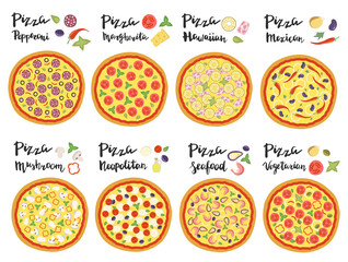 Vector set of hand drawn pizza popular varieties.
