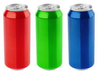 Set of color aluminum 500 ml beer can isolated on white background with clipping path