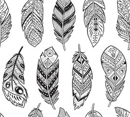 Vector seamless pattern with black and white abstract feathers