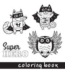 Hand drawn outline cartoon animals in superheroes costume