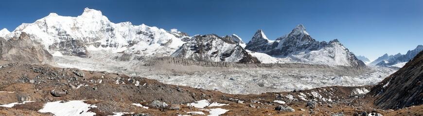 View of Ngozumba glacier - way to Cho Oyu base camp