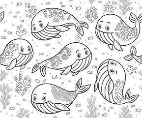 Outline hand drawn seamless pattern with cute cartoon whales