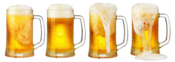 Wall Murals Beer / Cider cold mug of beer with foam isolated on white background