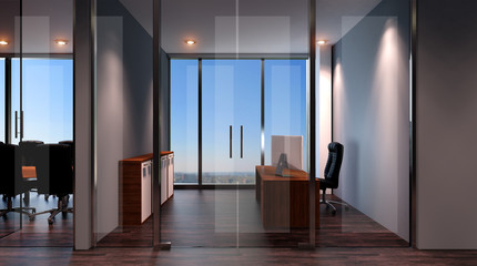 Interior of the modern office in the highlands. 3d rendering.