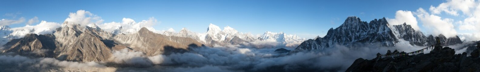 panorama of Mount Everest, Lhotse, Makalu and Cho Oyu
