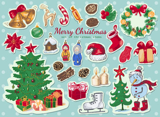 Big set of Christmas colored stickers