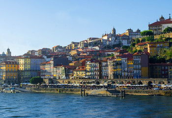 View on downtown of Porto, Portugal with colorful buildings