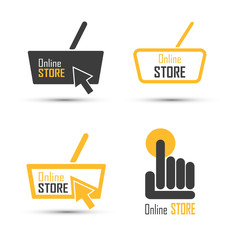 Shopping logo vector set. Online store concept.