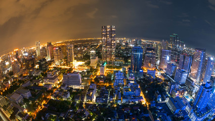 Cityscape night scene of Bangkok, Capital of Thailand with fish