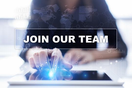 Woman is using tablet pc, pressing on virtual screen and selecting join our team