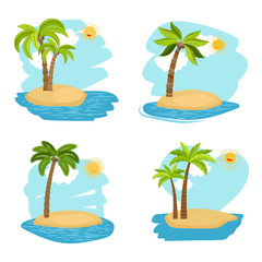 Vector holiday design vector coconut palm trees islands on white background
