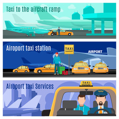 Taxi service banners. Airport and city taxi car cab driver vector illustration