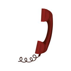 red antique telephone with cord vector illustration