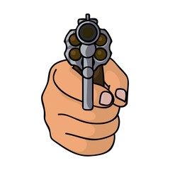 Directed gun icon in cartoon style isolated on white background. Crime symbol stock vector illustration.