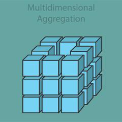 Multidimensional aggregation 3d, vector illustration flat design