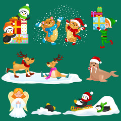 Illustration set animals winter holiday North Pole penguins presents and sledding down the hills,bears under snow elf boxes,deer skating,walrus in hat,vector angel.Merry Christmas and Happy New Year