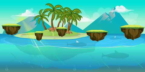 Background for games apps or mobile development. Cartoon nature landscape with sea  ocean and palms. Vector illustration  design graphics print  book . Stock .