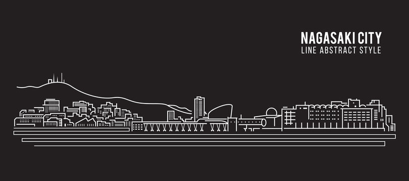 Cityscape Building Line art Vector Illustration design - Nagasaki city