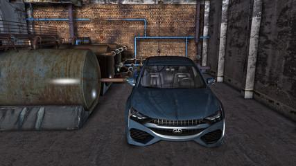 Modernes Fahrzeug in einer verfallenen Fabrikhalle