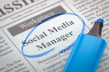 Social Media Manager Hiring Now. 3D.