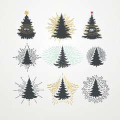 Vector illustration of different christmas trees with starburst.