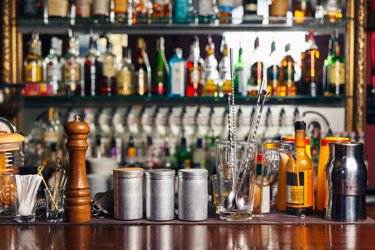 Bartender tools on bar