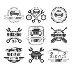 Auto Mechanic Black And White Emblems