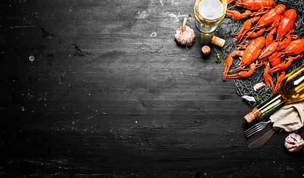 Fresh boiled crawfish with garlic and white wine.