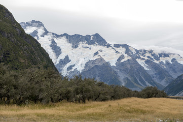Mount Cook Road (State Highway 80) along the Tasman River leading to Aoraki / Mount Cook National Park and the village