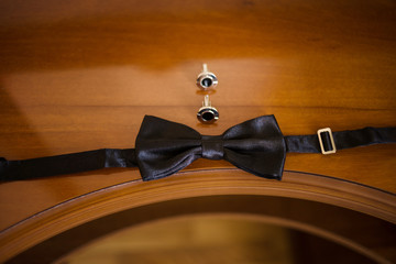 bow tie and cufflinks