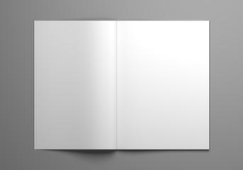 Blank open magazine mock-up 3D illustration