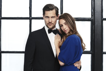 Stunning couple in smart wear, portrait
