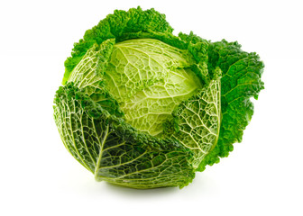 Green Savoy cabbage vegetable isolated on white