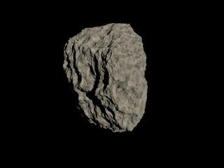 One meteorite isolated on black. Render.