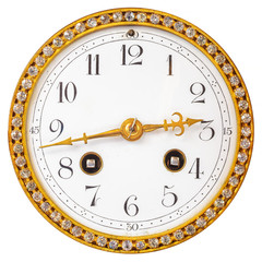 Ancient clock face with diamonds isolated on white