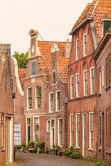 View at old houses in the Dutch city of Blokzijl