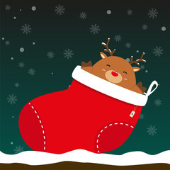 cute fat big reindeer come out of Christmas sock on falling snow flake green background