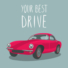 Red retro sport car isolated. Vector illustration. Cartoon car