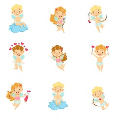 Baby Cupids With Bows, Arrows And Hearts Set