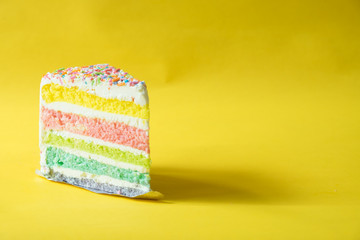 rainbow butter cake over yellow background