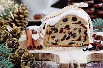 Christmas stollen.Traditional German festive dessert. Selective focus