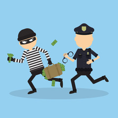 Policeman tries to chase a thief. Funny cartoon character.Concept of heist, crime, hacking and more.
