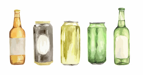 Watercolor beer set. Isolated beer bottles on white background.