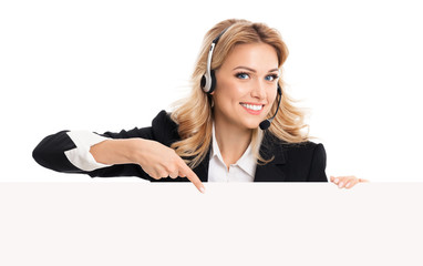phone operator in headset showing signboard
