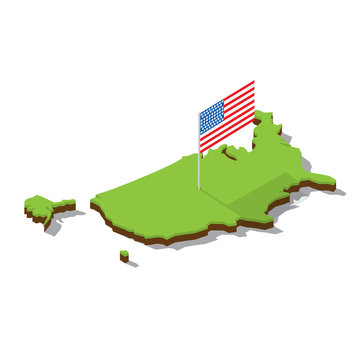 usa map with flag isometric