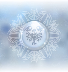A vector illustration of a transparent snow globe in a snowflake frame on the blurred background with a zodiac sign Cancer. Includes transparent objects and opacity masks.